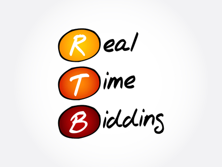 RTB - Real-time bidding, acronym business concept background Ilustração