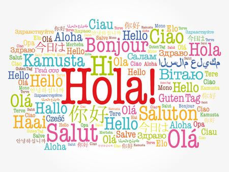 ¡Hola! (Hola saludo en español) nube de palabras en diferentes idiomas del mundo, concepto de fondo Ilustración de vector