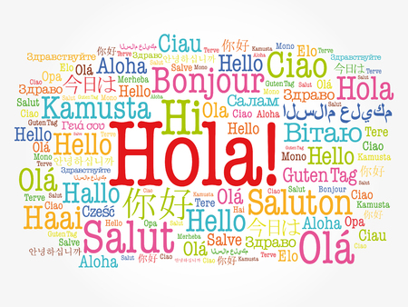 Hola! (Hello Greeting in Spanish) word cloud in different languages of the world, background concept Ilustração Vetorial