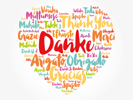 Danke (Thank You in German) Word Cloud background, all languages, multilingual for education or thanksgiving day