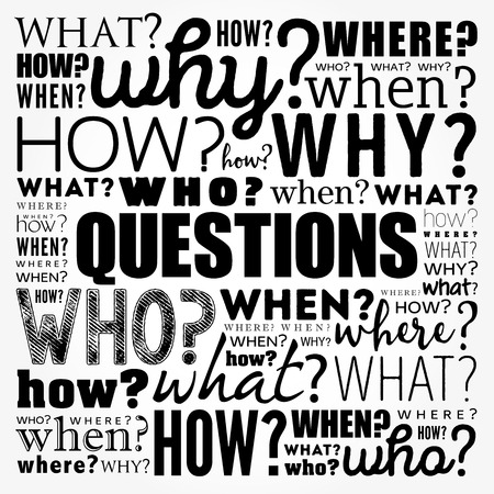 Questions whose answers are considered basic in information gathering or problem solving, word cloud background 일러스트
