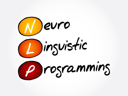 NLP - Neuro Linguistic Programming, acronym health concept background 向量圖像