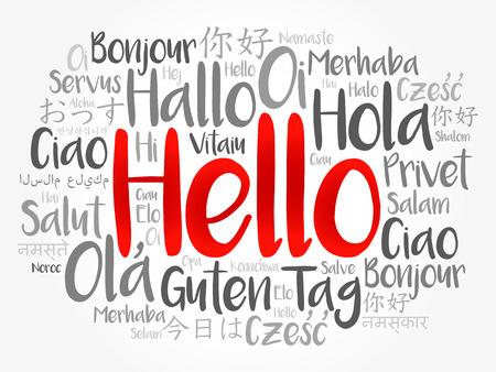 Hola nube de palabras en diferentes idiomas del mundo, concepto de fondo