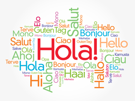 Hola! (Hello Greeting in Spanish) word cloud in different languages of the world, background concept Stock fotó - 126796478