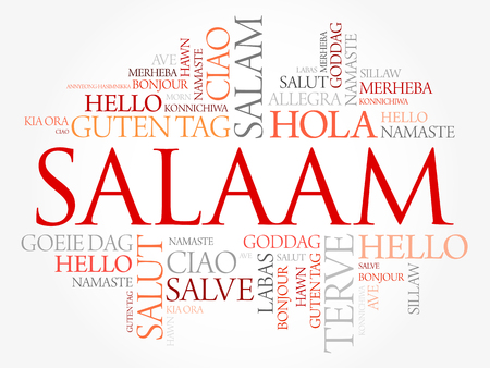 SALAAM (Hello Greeting in Persian,Farsi) word cloud in different languages of the world, background concept