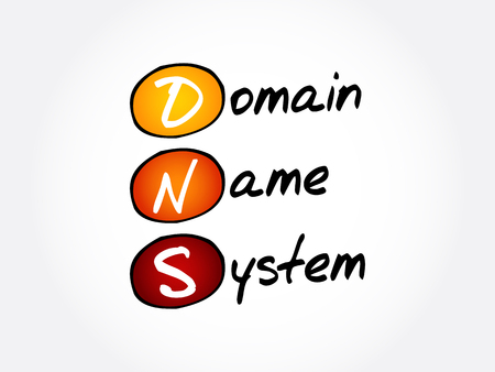 DNS - Domain Name System, acronym technology concept background