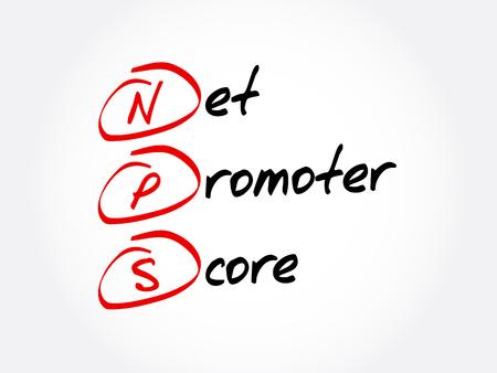 NPS - acronyme Net Promoter Score, arrière-plan du concept d'entreprise
