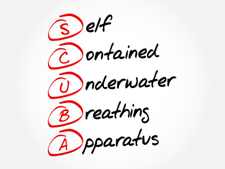 SCUBA - Self-Contained Underwater Breathing Apparatus acronym, concept background Illustration
