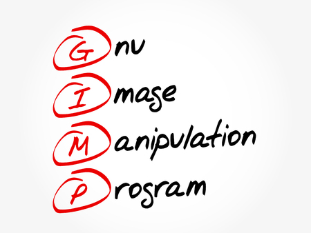 GIMP - Gnu Image Manipulation Program acronym, concept background Illustration