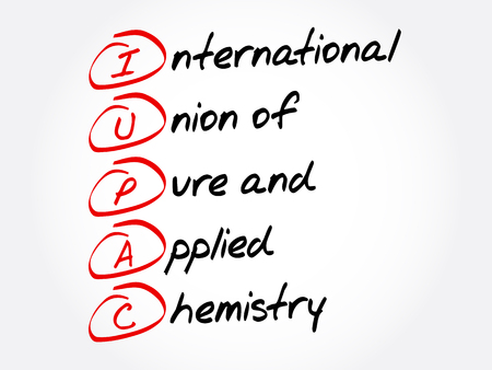 IUPAC - International Union of Pure and Applied Chemistry acronym, concept background 向量圖像