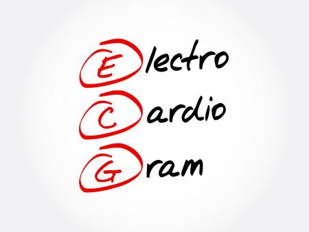 ECG - electro cardio gram acronym, concept background