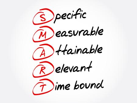 SMART - Acronyme spécifique, mesurable, atteignable, pertinent, limité dans le temps, arrière-plan du concept d'entreprise Vecteurs