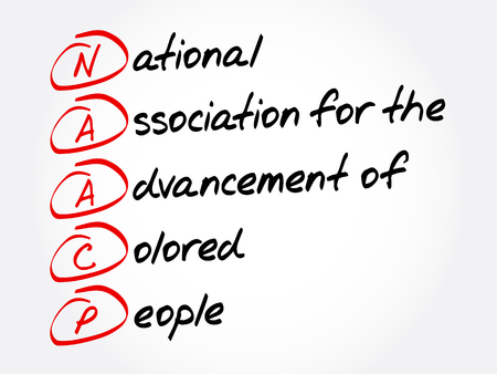 NAACP - National Association for the Advancement of Colored People acronym, concept background Foto de archivo - 114089021