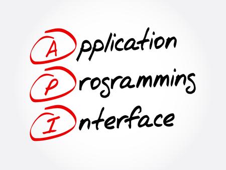 API - Acrónimo de interfaz de programación de aplicaciones, fondo del concepto de tecnología Ilustración de vector