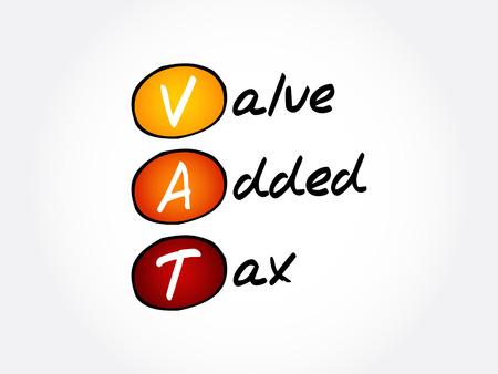 VAT - Value Added Tax, acronym business concept background Illustration
