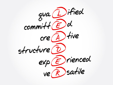 LEADER - Qualified, Committed, Creative, Structured, Experienced, Versatile acronym, business concept background Illustration
