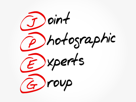 JPEG - Joint Photographic Experts Group acronym, concept background Фото со стока - 114089077