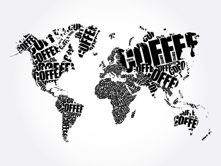COFFEE word in shape of World Map Typography, words cloud drink concept background