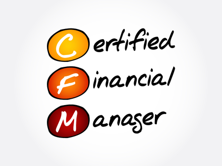 CFM – Certified Financial Manager acronym, business concept background  イラスト・ベクター素材