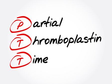 PTT - Partial Thromboplastin Time acronym, concept background Ilustração