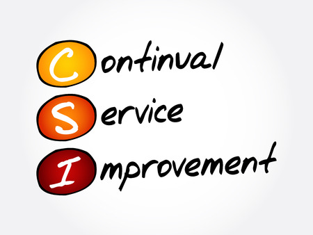 CSI - Continual Service Improvement acronym, business concept background 일러스트