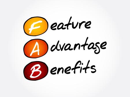 FAB - Feature Advantage Benefits acronyme, arrière-plan du concept d'entreprise