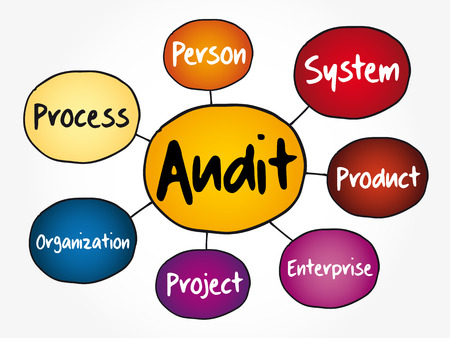 Audit evaluation area mind map flowchart, business concept for presentations and reports