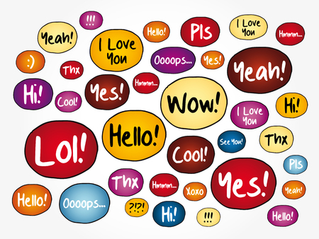 Most common used acronyms and abbreviations speech bubbles, word cloud background Illustration