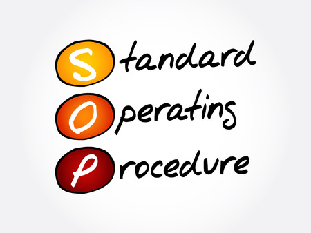 SOP - Standard Operating Procedure acronym, business concept background Vettoriali