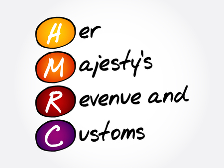 HMRC - Her Majestys Revenue and Customs acronym, business concept background