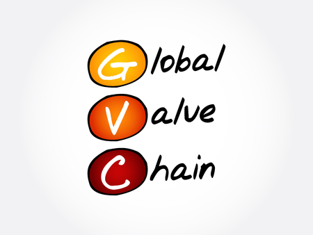 GVC - Global Value Chain acronym, business concept background Çizim