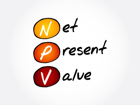 NPV - Net Present Value acronym, business concept background Иллюстрация