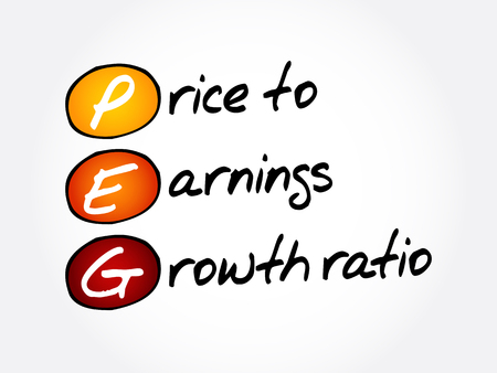 PEG - Price to Earnings Growth ratio acronym, business concept background Illustration
