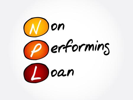 NPL - Abkürzung für Non-Performing Loan, Hintergrund des Geschäftskonzepts concept Vektorgrafik