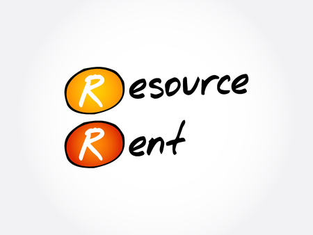 RR - Resource Rent acronym, business concept background Illustration
