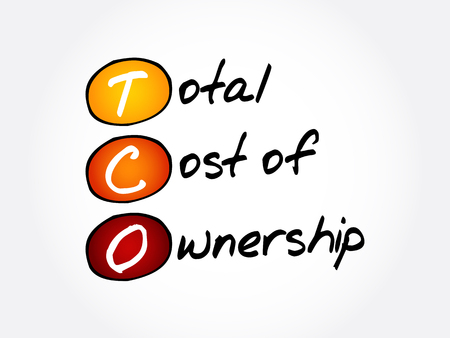 TCO - Total Cost of Ownership acronym, business concept background 向量圖像