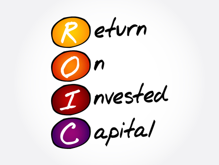 ROIC - Return on Invested Capital acronym, business concept background Vektoros illusztráció