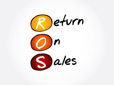ROS - Return On Sales acronym, business concept background 일러스트