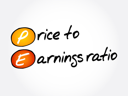 PE - Price to Earnings ratio acronym, business concept background 스톡 콘텐츠 - 126395451
