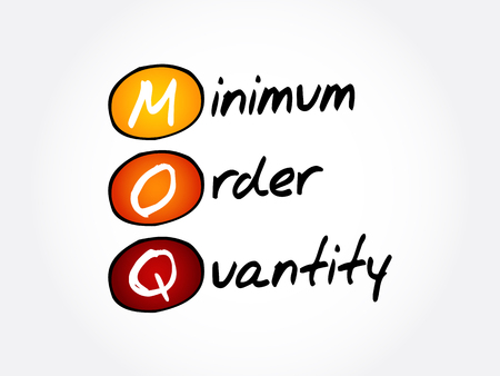 MOQ - Minimum Order Quantity acronym, business concept background Ilustração
