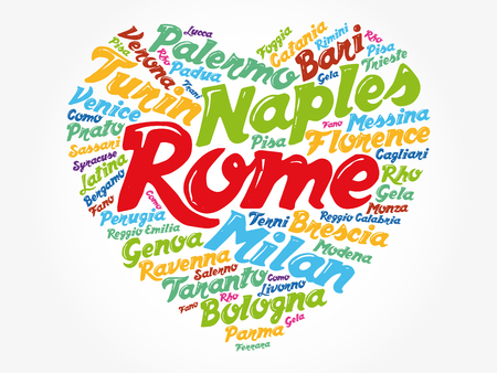 List of cities and towns in Italy composed in love sign heart shape, word cloud collage, business and travel concept background 免版税图像 - 126348728