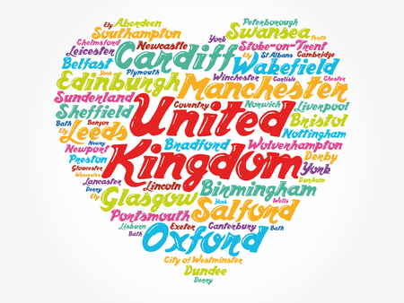 List of cities and towns in the United Kingdom composed in love sign heart shape, word cloud collage, business and travel concept background