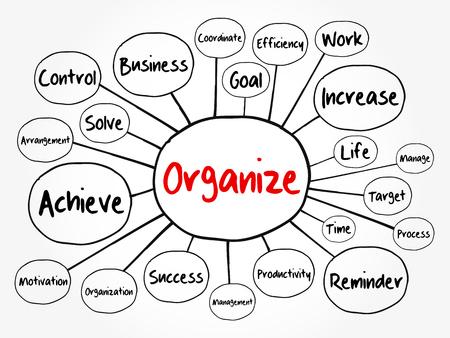 Organizar diagrama de flujo de mapa mental, concepto de negocio para presentaciones e informes