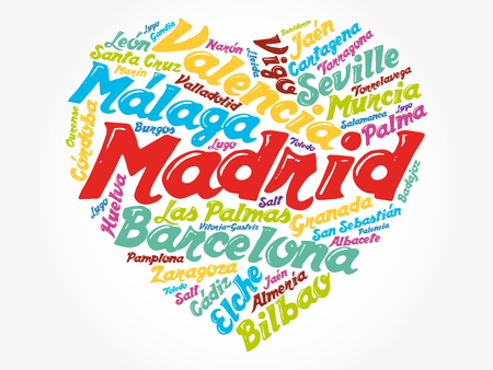 List of cities and towns in Spain composed in love sign heart shape, word cloud collage, business and travel concept background