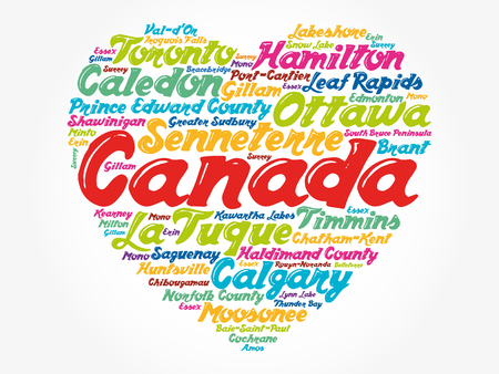 List of cities and towns in Canada composed in love sign heart shape, word cloud collage, business and travel concept background