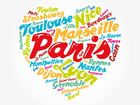 List of cities and towns in France composed in love sign heart shape, word cloud collage, business and travel concept background Illustration