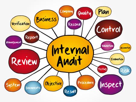 Diagrama de flujo de mapa mental de auditoría interna, concepto de negocio para presentaciones e informes Ilustración de vector