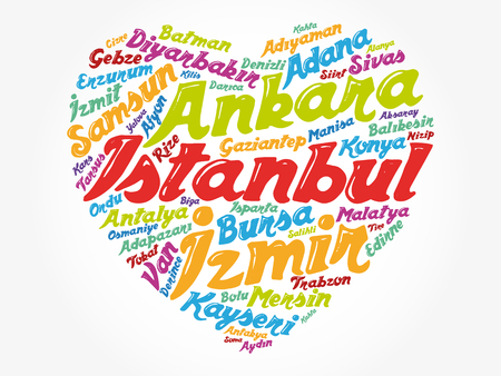 Heart word cloud with List of cities in Turkey, concept background 矢量图像
