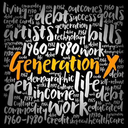Generation X word cloud collage, social concept background