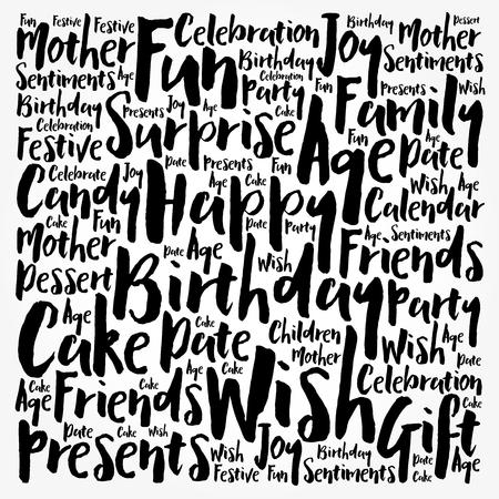 Collage de nuage de mots de joyeux anniversaire avec des nombres, fond de concept de vacances Vecteurs